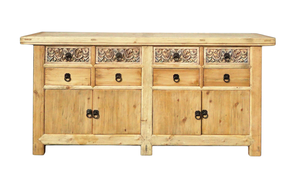 Superior Chinese Vintage Natural Sideboard Buffet Cabinet