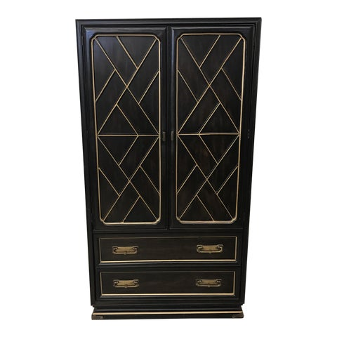 Image of American of Martinsville Black & Gold Armoire