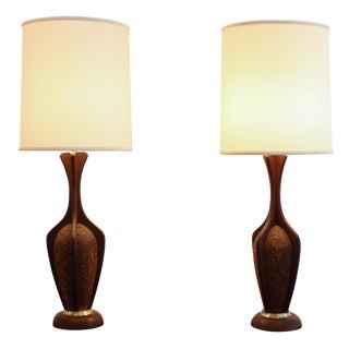 Teak And Cork Danish Modern Lamp - Pair