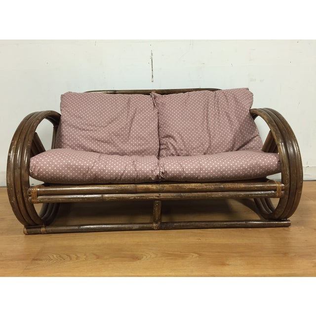 Paul Frankl Style Child's Rattan Sofa - Image 3 of 9