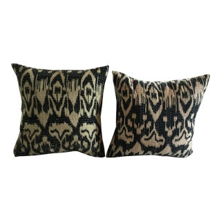 Navy Ikat Pillows- A Pair