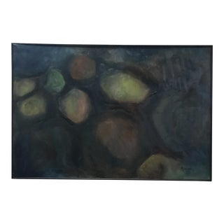 Mid-Century Black Framed Abstract Painting