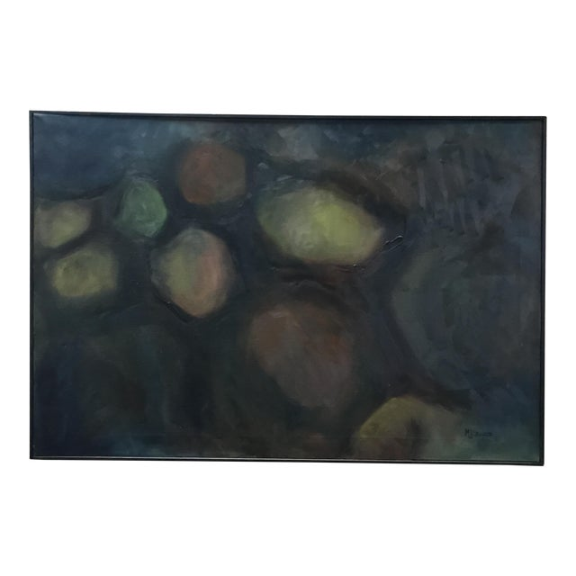 Mid-Century Black Framed Abstract Painting - Image 1 of 5
