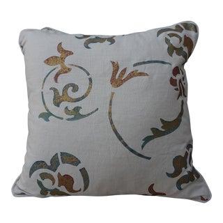 Gold Stenciled Cream Linen Pillows - A Pair