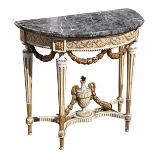 18th Century Louis XVI Period Parcel Gilt Demilune Marble-Top Console Table