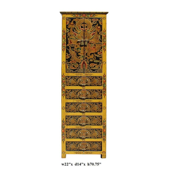 Chinese Tibetan Dragon Slim Multi Drawer Cabinet - Image 6 of 6