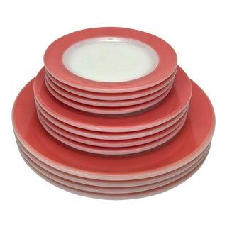 1950s Flamingo Pink Plates - Set of 12