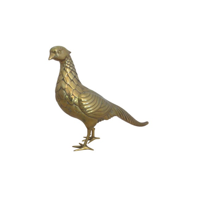 Image of Large, Semi-Solid Brass Figural Pea Hen