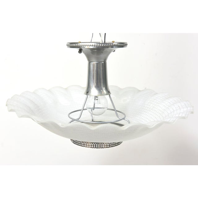 Chrome & Glass Disk Semi Flush Vintage Fixture - Image 3 of 5