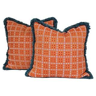 Orange Pillows with Teal Trim - A Pair