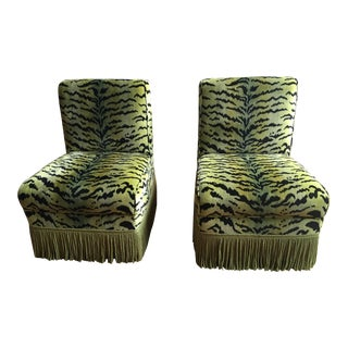 Scalamandre Tigre Green Velvet Slipper Chairs - Pair