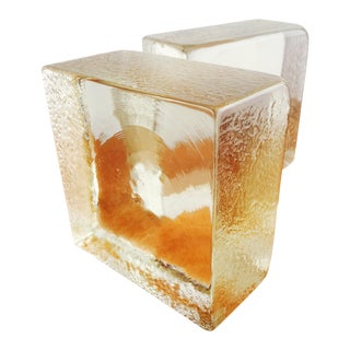 Glass Brick Bookends - A Pair