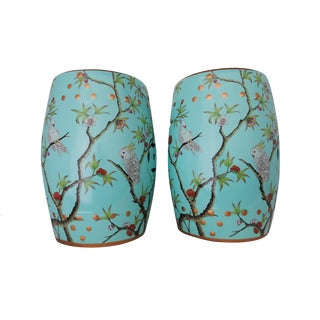 Turquoise Garden Stools - A Pair
