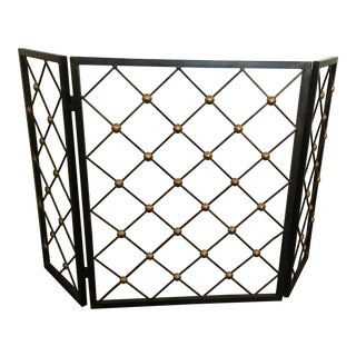 """Jean Royere Style Wrought Iron and Brass """"Tour Eiffel"""" Folding Fire Screen"""