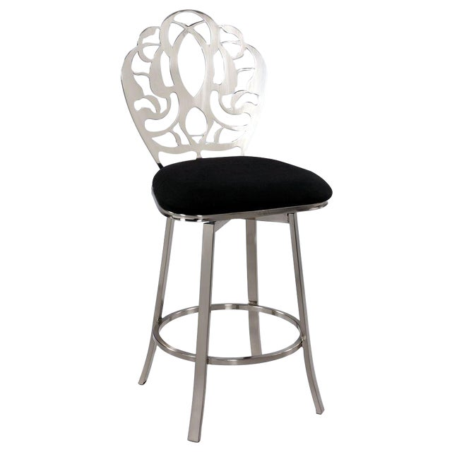 Image of Carved Brushed Nickel Barstools - A Pair