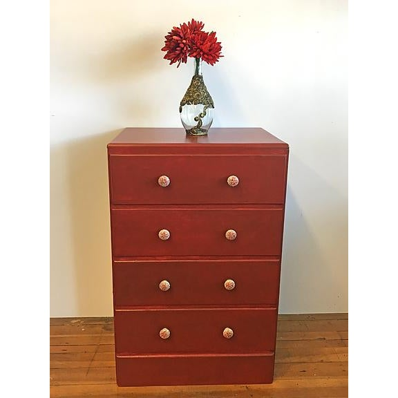 Red Solid Wood With Hand-Painted Knobs Four Drawer Dresser - Image 3 of 5