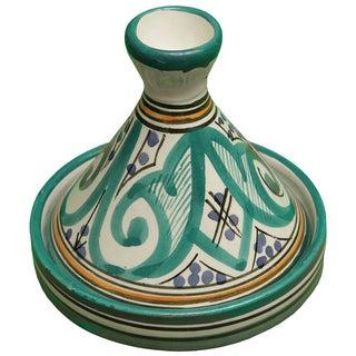 Moroccan Teal Green Ceramic Lidded Bowl