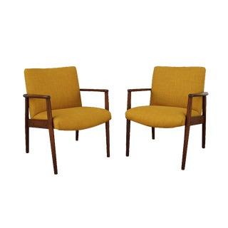 Mid-Century Walnut Arm Chairs - Pair