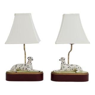 Italian Majorca Dalmatian Lamps- A Pair