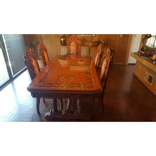 Rare Antique Narra Wood Dining Set - Image 11 of 11