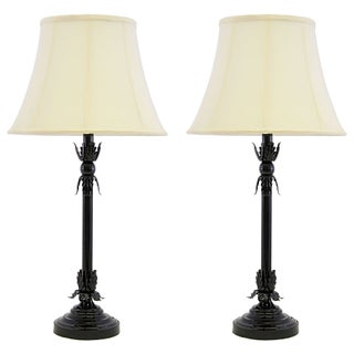 Brass Greek Leaf Lamps in Black Auto Paint - Pair