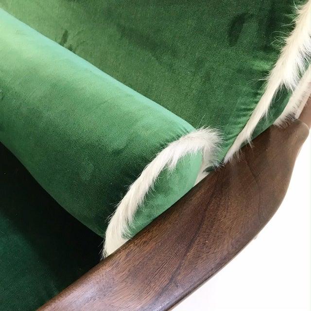 Vintage Walnut Lounge Chair Attributed to Finn Juhl Restored in Schumacher's Emerald Green Silk Velvet and Brazilian Cowhide - Image 7 of 10