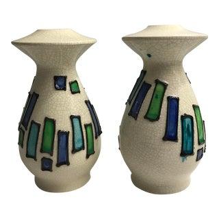 Mid Century Modern Italian Pottery Candlesticks - a Pair