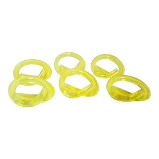 Mid-Century Bright Yellow Lucite Napkin Rings - Set of 6