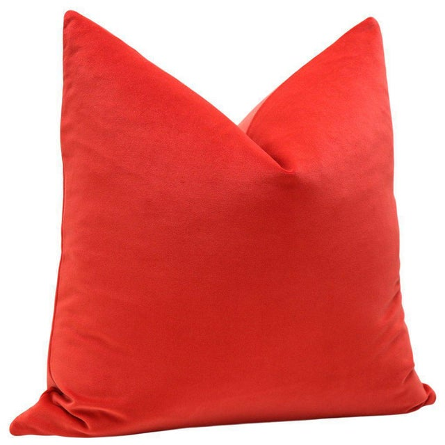 "20"" Vermillion Red Velvet Pillows - A Pair - Image 3 of 5"