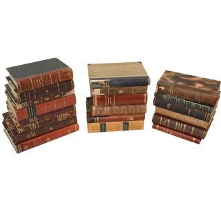 Scandinavian Leather-Bound Books - Set of 20