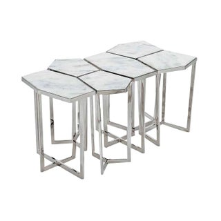 Chrome & Marble Puzzle Tables - Set of 6