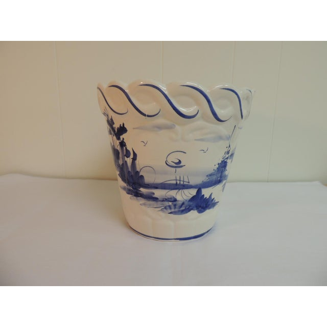 Vintage Blue & White Hand-Painted Ceramic Planter - Image 3 of 6