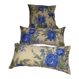 Blue & Yellow Floral Pillow - Set of 3