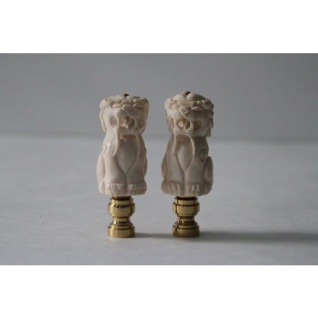 Chinese Bone Foo Dog Lamp Finials - A Pair - Image 2 of 5