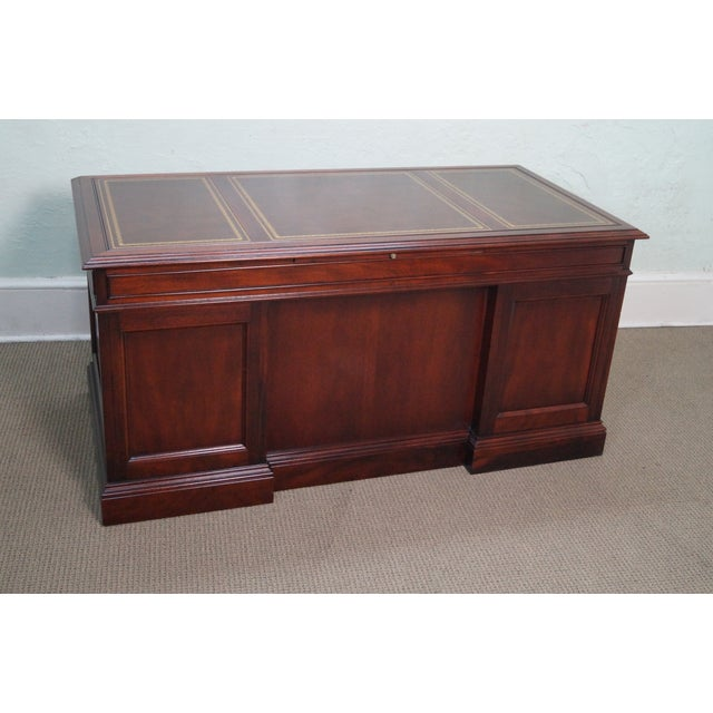 Image of Sligh Chippendale Style Mahogany Leather Top Desk