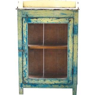 Azure & Yellow Glass Door Cabinet