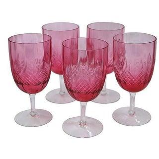 Antique Cranberry Cut-Glass Stems - Set of 5