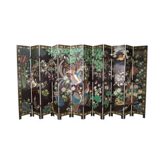 Chinese Monumental Coromandel Lacquer 12 Panel Folding Screen