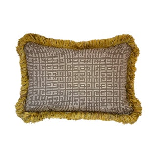 "Geometric Pillow with Goldenrod Fringe - 16"" x 24"""