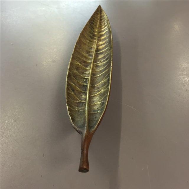 Image of 1948 Brass Euphorbia Codiacum Leaf Dish