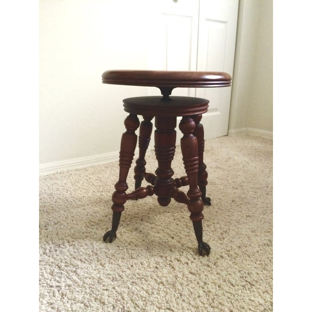 Turn of the Century Claw Foot Piano Stool - Image 2 of 3