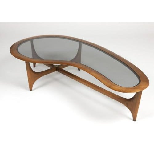 Lane Kidney-Shaped Walnut & Glass Coffee Table - Image 2 of 3
