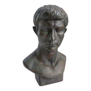 1920 French Life-Size Classical Style Julius Cesar Bronze Bust by H. Sargent