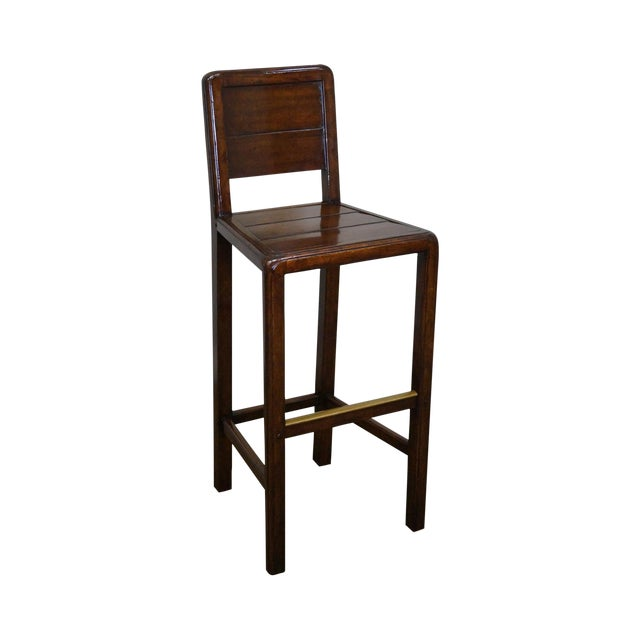 Jonathan Charles Country Farmhouse Walnut Barstool - Image 1 of 10