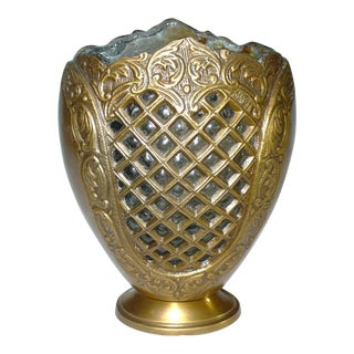 Bronze & Glass Lattice Vase