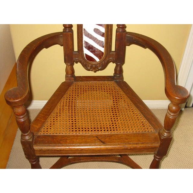Berkey & Gay Jacobean Cane & Cowhide Arm Chair - Image 7 of 11