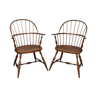 Frederick Duckloe Vintage Pair of Loop Back Windsor Arm Chairs