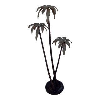 Cold Painted Bronze Palm Tree Sculpture