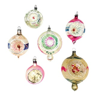 Vintage Mercury Glass Indent Christmas Ornament-Set of 6