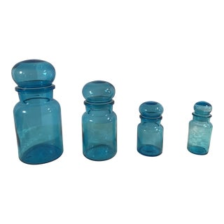 Mid-Century Modern Bubble Top Blue Apothecary Jars - Set of 4